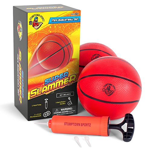 Mini Basketballs for Mini Basketball Hoop Set Includes 2 x 4 inch Basketballs and 1 Hand Pump with Inflation Needles