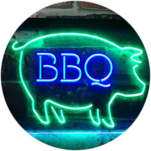 ADVPRO BBQ Pig Restaurant Open Display Dual Color LED Neon Sign Green & Blue 16