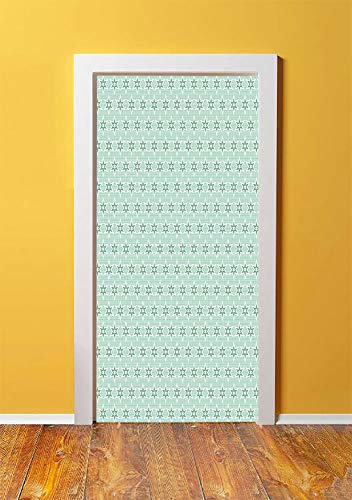Green 3D Door Sticker Wall Decals Mural Wallpaper,Stylized Stars Vintage Pattern Retro Colors Seventies Style Decorative,DIY Art Home Decor Poster Decoration 30.3x78.8368,Mint Green Hunter Green Light ()