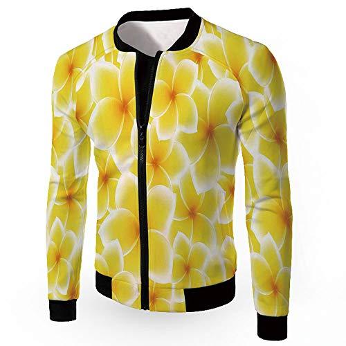 iPrint Jackets Coats,Yellow Decor,Men's Zip-up Lightweight Windbreaker College Jacket, -