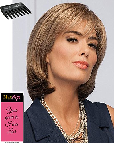 Comfort Wig Cap Mono - Paradox Color G811+ Mahogany Mist - Gabor Wigs 8 Inch Long Short Bob Tapered Bangs Lace Front Synthetic Mono Top Womens Average Cap Bundle with Wig Comb, MaxWigs Hairloss Booklet