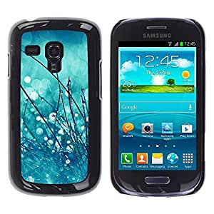 TaiTech / Hard Protective Case Cover - Drops Rain Blurry Mint Green - Samsung Galaxy S3 MINI NOT REGULAR! I8190 I8190N