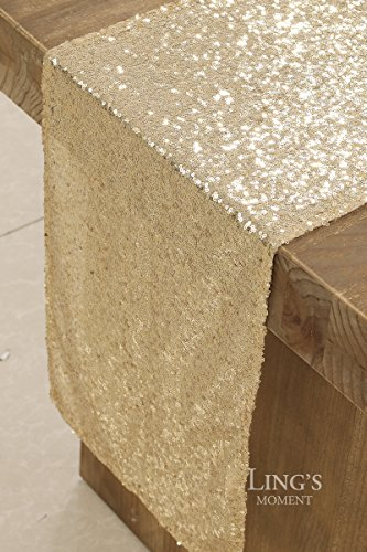 Ling's moment Sparkly Sequin Table Runner Champagne 12 x 108 Inch (Hem Edge) for Thanksgiving Christmas Wedding Engagement Party Bridal Baby Shower Dresser Decorations by Ling's moment (Image #5)