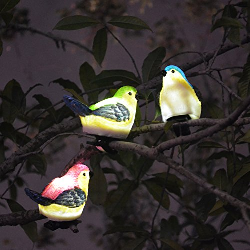 SOLAHOMF Solar Outdoor Decoration Lights- Bird Shaped Multi-colored Decoration Lights with Clip for Garden,Patio Tree Decoration Landscape Lighting, 3 Pack (Colored Solar Garden Multi Lights)