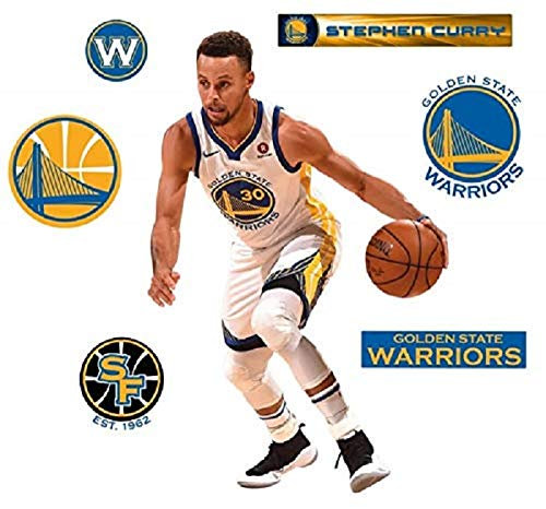 327ae9333105 Stephen Curry FATHEAD + Golden State Warriors Logo Set Official NBA Vinyl  Wall G..