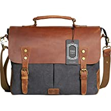 """Wowbox Messenger Satchel Bag for Men and Women,Vintage Canvas Real Leather 14-inch Laptop Briefcase for Everday use 13""""(L) x10.5(H) x 4.1""""(W)(Gray)"""