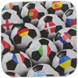 3dRose cst_155022_2 England Germany Portugal Spain, Dm, Czech Republic Italy France Greece Ukraine Flags on Soccer Balls-Soft Coasters, Set of 8