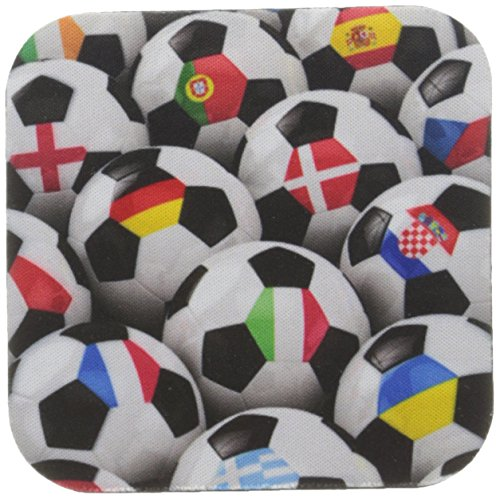 3dRose cst_155022_2 England Germany Portugal Spain, Dm, Czech Republic Italy France Greece Ukraine Flags on Soccer Balls-Soft Coasters, Set of 8 by 3dRose