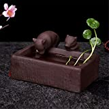 Creative Zisha Soya Porcelain Pet Ashtail Hydroponic Plant Flower Pot Decoration, Brown