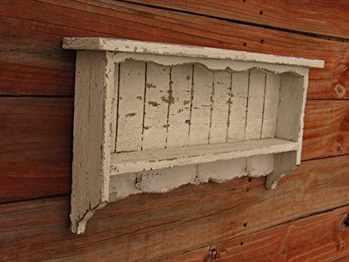 - White distressed key hook shelf. Entryway wall shelf display Cedar shelf handmade in Texas French country farmhouse shabby chic