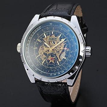 XKC-watches Relojes para Hombres, Hombres suizos de Negocios Casuales Huecos dial mecánico automático