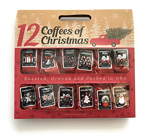 Coffee Gift Box (12 Gourmet Coffees of Christmas Holiday Gift Set)