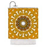 Tropical Floral Medallion Themed, Exotic Top Shower Curtain, Printed Abstract Blooming Flowers Design, Premium Modern Home Adults Kids Bathroom Decoration, Nature Lovers Pattern, Yellow, Size 69 x 70