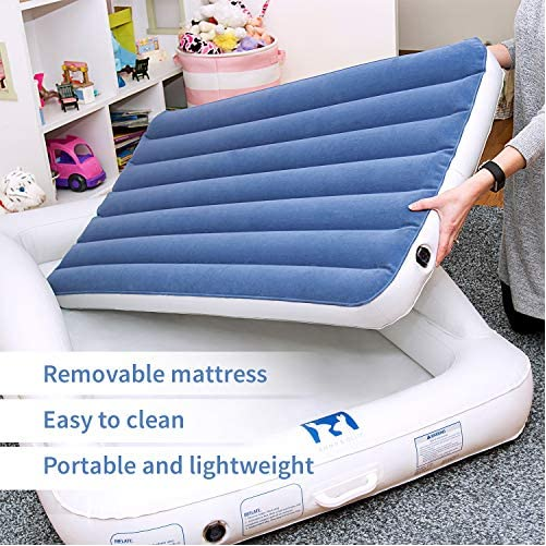 Emma + Ollie Inflatable Toddler Bed with Bed Rails - Portable Travel Blow Up Air Mattress with Safety Bumpers - Perfect for Home, Travel, Camping, Grandparents (Includes Electric Pump) 4