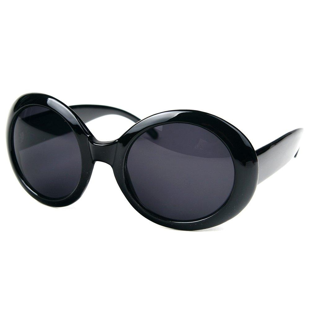4f3e4108323 Pop Fashionwear Womens Fashion Circle Round Jackie O Bold Chic Sunglasses  P547 (Black Smoke) at Amazon Women s Clothing store