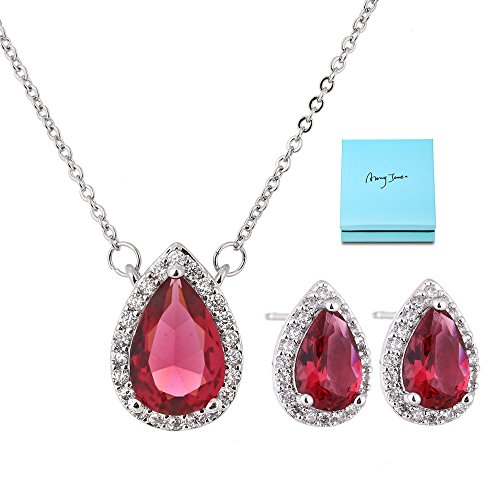 AMYJANE Crystal Jewelry Set for Women - Sterling Silver Red Cubic Zirconia Rhinestone CZ Teardrop Necklace Earrings Set for Girls Bridesmaids Bride Party Prom Costume Jewelry (Tiffany Set Stud)