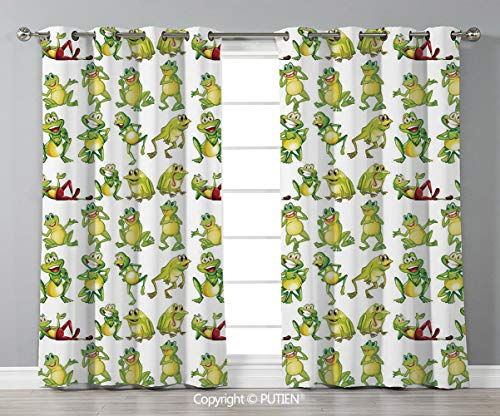 Grommet Blackout Window Curtains Drapes [ Nursery,Frogs in Different Positions Funny Happy Cute Expressions Faces Toads Cartoon,Green Yellow Red ] for Living Room Bedroom Dorm Room Classroom Kitchen C