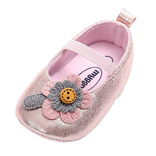 (Kasien Baby Shoes, Baby Girl Leather Flower Shoes Keep Warm Fashion Toddler First Walkers Kid Shoe (Pink, 12-18 Months))