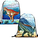 Drawstring Backpack Dinosaur Bag for Birthday Party Favor Gift 2 Pack Drawstring Goody Bags,Velociraptor Plateosaurus