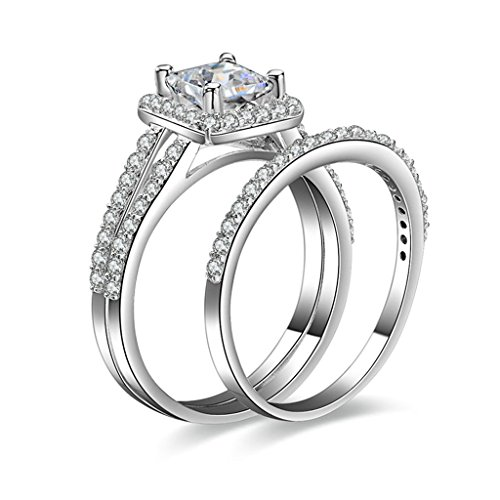 (Free Engraving)Adisaer Silver Rings for Women Wedding Bands Cubic Zirconia Stacking Ring Size 10
