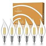 Dimmable Candelabra LED Light Bulbs: 4 Watt, 2700K Warm White Lightbulbs - 40W Equivalent - E12 LED Bulb Base - Flame Tip - 400 Lumen - UL Listed - Indoor or Outdoor LED Candelabra Bulb Set - 6 Pack