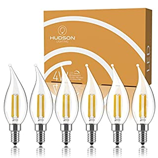 Dimmable E12 LED Candelabra Bulb Set - 4W, 40W Equivalent - 2700K Warm White - Flame Tip - Small Base Candle Lightbulb for Chandelier, Ceiling Fan, Sconce, Desk Lamp or Porch Lights - Pack of 6