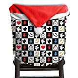 Poker Pattern Christmas Chair Covers Antique Smooth Santa Hat Chair Covers For Husbands Armless Chair Slipcover Holiday Festive