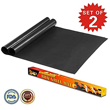 Imarku BBQ Grill & Baking Mats, Durable , Heat Resistant, Non-Stick Grilling Accessories ,Works on Gas, Charcoal, Electric Grill and more- 15.75 x 13  - (Set of 2)