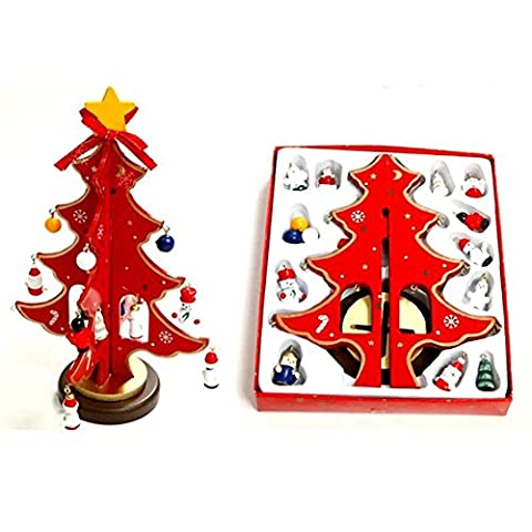 YUYU Christmas decorations desktop mini wooden Christmas tree ornaments , red