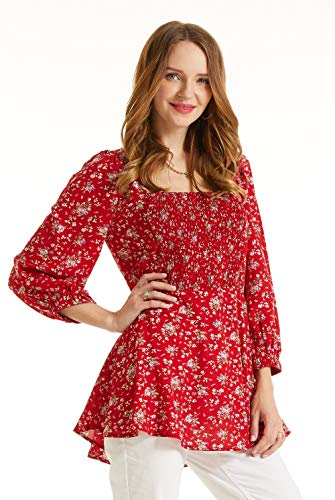 - SONJA BETRO Women's Floral Printed Smocked Bib Square Neck Tunic Top Blouse X-Large