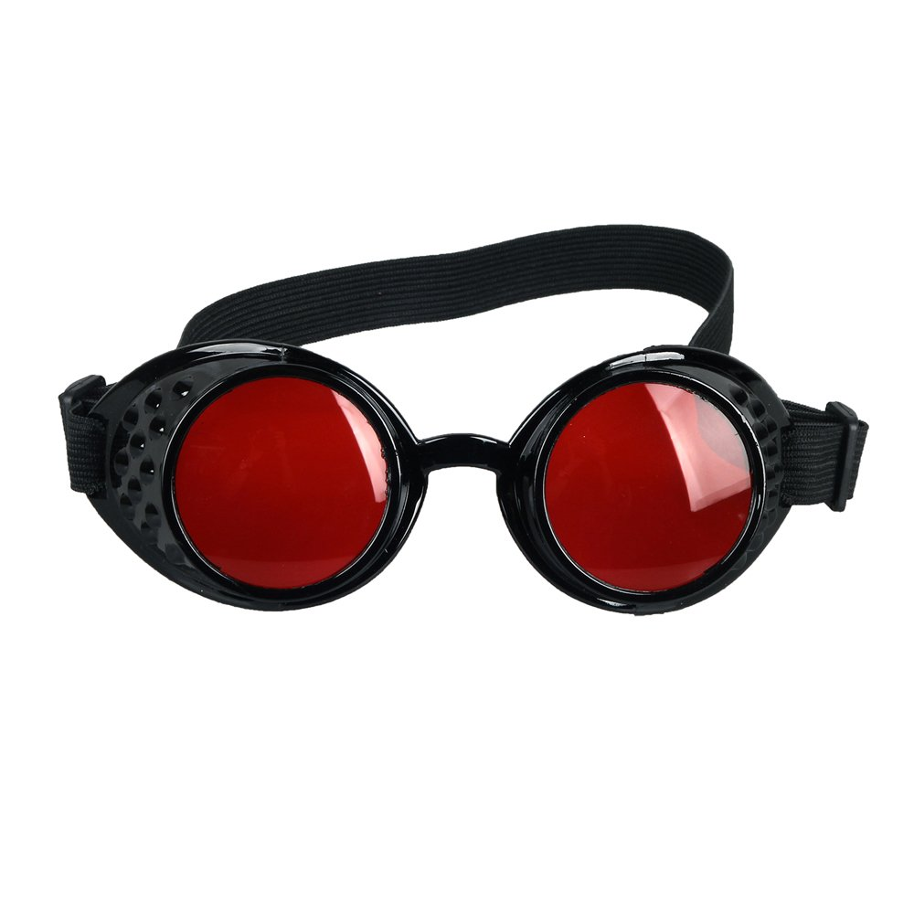 STLY Adjustable Steampunk Goggles Glasses COSPLAY Sunglasses Eyewear Safty Goggles Black Frame Red Lens