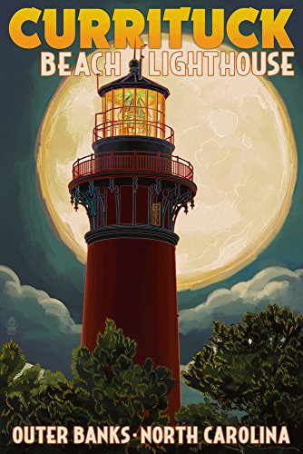 - Outer Banks, North Carolina - Currituck Beach Lighthouse and Moon (12x18 SIGNED Print Master Art Print w/Certificate of Authenticity - Wall Decor Travel Poster)