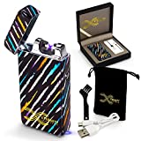 ETERNITY Lighters™: Flameless Electronic Rechargeable Windproof Premium Cigarette or Candle Lighter with Dual Arc, USB Cord, Brush, and Bag in Gift Box (Black Colorful)