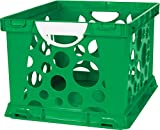 Storex 2-Color Large Crate with Handles, Green/White