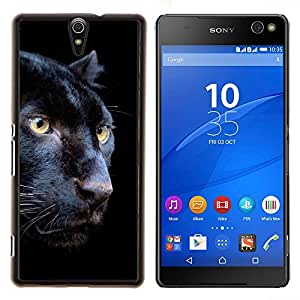 YiPhone /// Prima de resorte delgada de la cubierta del caso de Shell Armor - Puma Negro Piel intenso Naturaleza Animal - Sony Xperia C5 Ultra