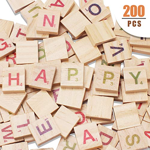 Scrabble Tiles - Wood Letter Tiles/ Wooden Scrabble Tiles A-Z Capital Letters for Crafts, 200PCS (Scrabble Letters For Crafts)
