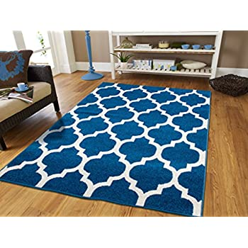 Amazon Com New Fashion Luxury Morrocan Trellis Rugs Blue