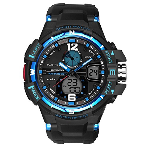 (Analogue Digital Watch Military Sport Watch Mens Dual Dial Business Casual Multifunction Electronic Wrist Watches Resistant Wristwatch (Blue))