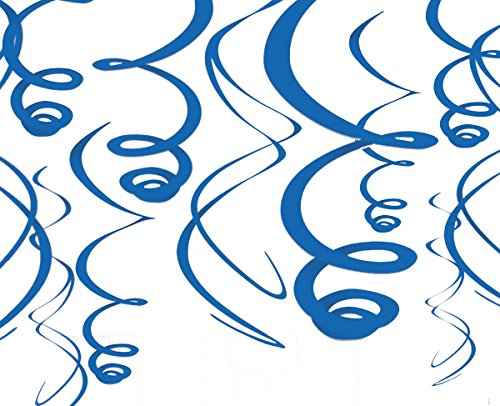 Royal Blue Swirl Decorations-12 Pack