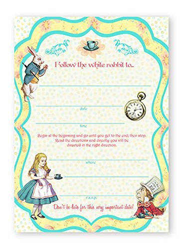 Classic Mad Hatter Set (Alice In Wonderland - 10 Invitations + 10 Envelopes)
