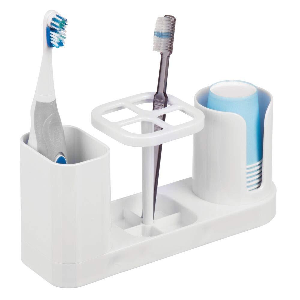 mDesign Plastic Bathroom Vanity Countertop Dental Storage Organizer 00647MDBSTEU