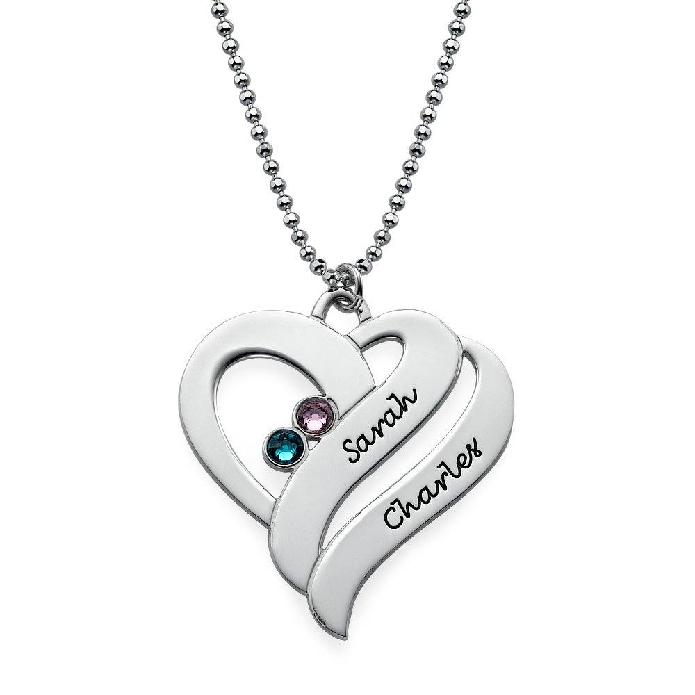 Geburtssteinkette mit zwei Herzen für Mütter - Personalisiert mit ...