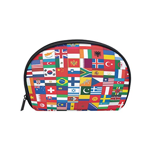 ALAZA World Flag Half Moon Cosmetic Makeup Toiletry Bag Pouc