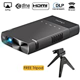 IPhone DLP Mini Projector, ELEPHAS High Brightness Pico Video Projector Support 1080P HDMI USB TF Micro SD Card AV Ideal for Camp Backyard Outdoor Movie Night Home Cinema TV Laptop Game, Black-Silver.