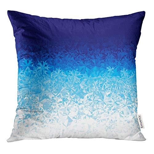 Semtomn Decorative Throw Pillow Case Cushion Cover ICY Blue Ice Frost Effect Water Glass Pattern Window 20x20 Inch Cases Square Pillowcases ()