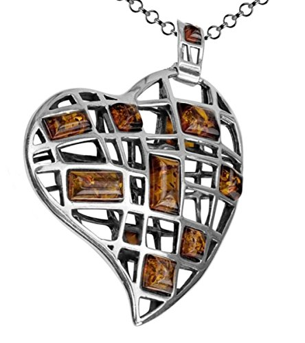 Honey Amber Sterling Silver Very Large Pendant Rolo Chain 18