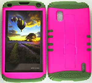 SHOCKPROOF HYBRID CELL PHONE COVER PROTECTOR FACEPLATE HARD CASE AND DARK GREEN SKIN WITH STYLUS PEN. KOOL KASE ROCKER FOR LG NEXUS 4 E960 NEON HOT PINK DG-A006-FE
