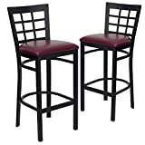 Flash Furniture 2 Pk. HERCULES Series Black Window Back Metal Restaurant Barstool - Burgundy Vinyl Seat