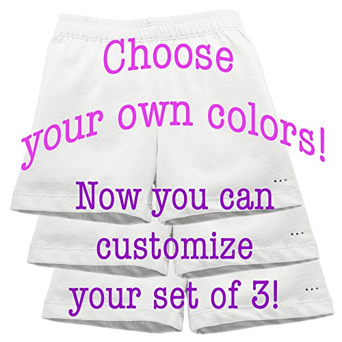 Sparkle Farms Girl's Customized Set of 3 Under Dress Shorts for School and Play - Sizes 3T-12