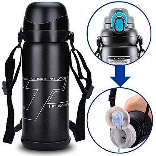 Travel Mug Stainless Steel Water Bottle Hot Thermos Climbing Coffee Camping Flask-27oz /800ml Black
